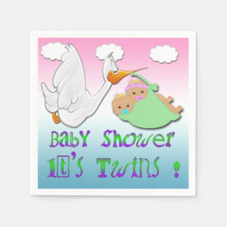Boy & Girl Twins 2 - Stork Baby Shower Paper Napki Paper Napkin