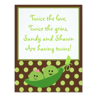 "Boy Girl Twins Pea in a Pod Baby Shower Invitation 4.25"" X 5.5"" Invitation Card"