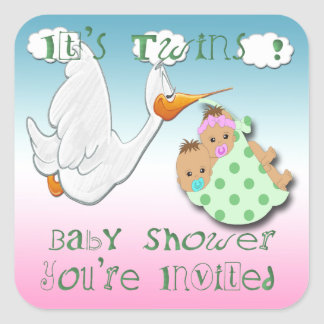 Boy & Girl Twins - Stork Baby Shower Envelope Seal Stickers