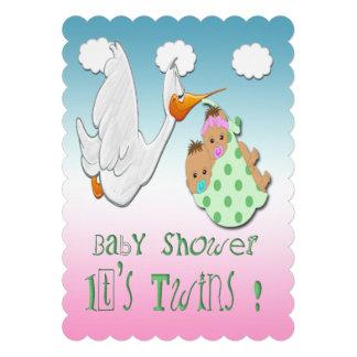 Boy & Girl Twins - Stork Baby Shower Invitation