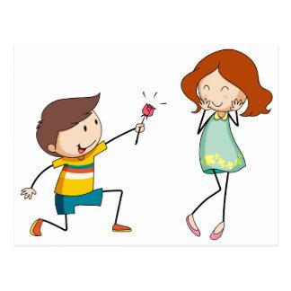 Boy giving flower to girlfriend postcard