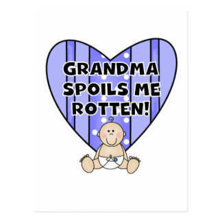 Boy Grandma Spoils Me Tshirts and Gifts Postcard
