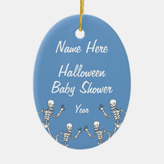 Boy Halloween Skeleton Baby Shower Oval Ornaments