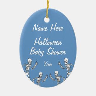 Boy Halloween Skeleton Baby Shower Oval Ornaments