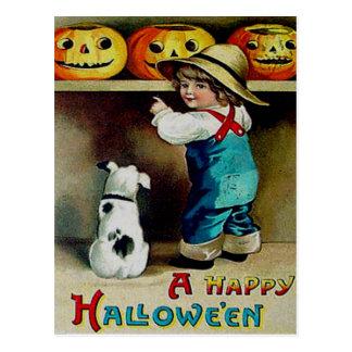 Boy & His Dog Looking At Jack O' Lanterns Postcard
