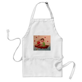 Boy Holding Heart in Boat Aprons