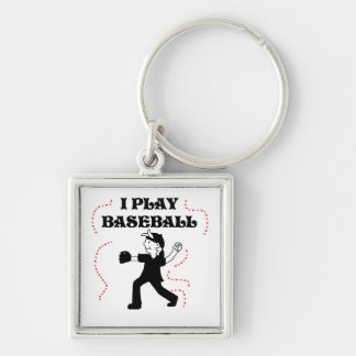 Boy  I Play Baseball Tshirts and Gifts Silver-Colored Square Key Ring