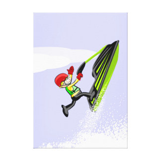 Boy in a single foot gives to a jump in his jet canvas print