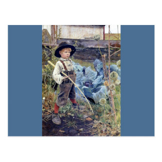 Boy in Cabbage Garden painting Postcard
