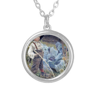 Boy in Cabbage Garden painting Round Pendant Necklace