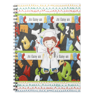 Boy in Cap and Gown with Diploma on ABC Background Notebooks