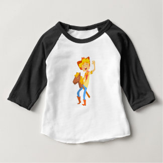 Boy In Cowboy Costume Riding Toy Horse Head On A S Baby T-Shirt