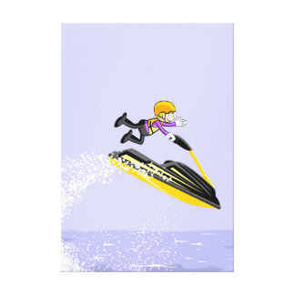 Boy in his jet ski shows his great feat canvas print