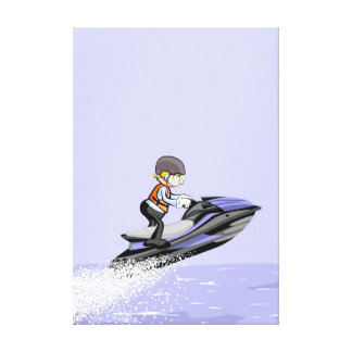 Boy in its jet ski at a high speed canvas print
