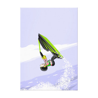 Boy in its jet ski leaving a wake to its step canvas print