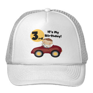 Boy in Red Car 3rd Birthday T-shirts and Gifts Trucker Hats