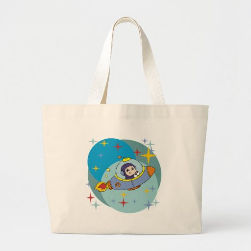 Boy in Spaceship Tote Bags
