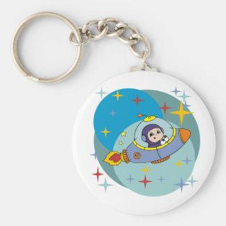 Boy in Spaceship Basic Round Button Key Ring