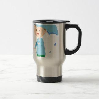 Boy in the Rain Travel Mug
