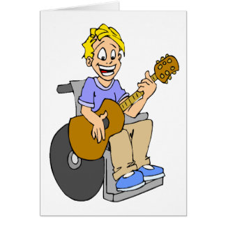 Boy in wheelchair playing guitar Cartoon Custom Card
