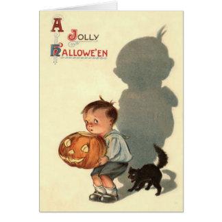 Boy Jack O Lantern Shadow Black Cat Greeting Card