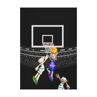 Boy jumping to place the ball in the hoop canvas print
