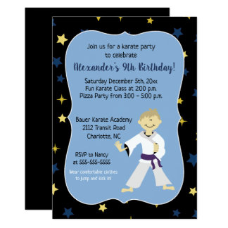 Boy Karate Birthday Invitations Purple Belt