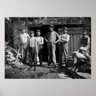 Boy Laborers, 1913 Print