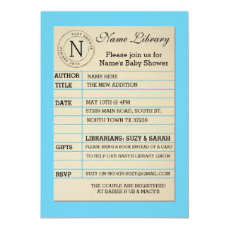 Boy Library Card Baby Shower Blue Invitation