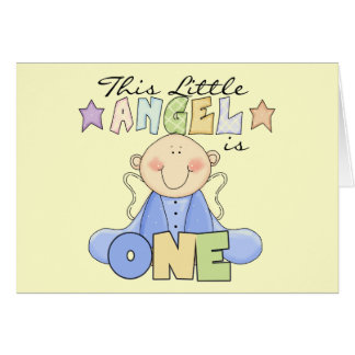 Boy Little Angel 1st Birthday Tshirts and Gifts Card