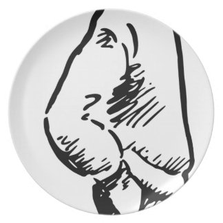 Boy Looking Up Plate