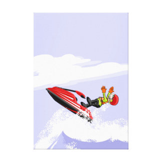 Boy loosen of his jet ski and he falls to the canvas print