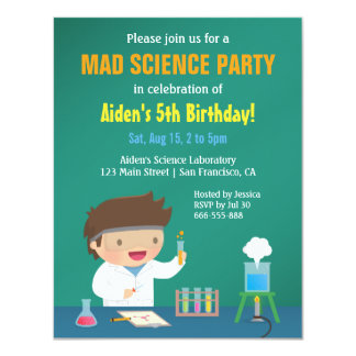 Boy Loves Mad Science Birthday Party Invitations