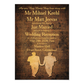 Boy Meets Boy Gay Wedding Reception Invitation