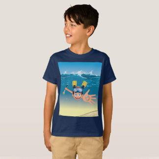 Boy metal detecting in water T-Shirt
