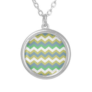 Boy Mixed Blue Zigzags Round Pendant Necklace