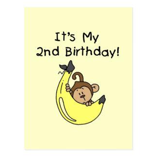 Boy Monkey on Banana 2nd Birthday Postcard