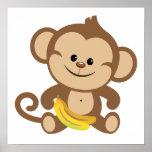 Boy Monkey With Banana Print