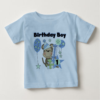 Boy Monkey With Gifts 1st Birthday T Shirt