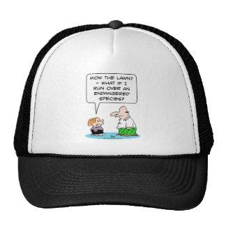 boy mow lawn endangered species mesh hat