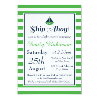 Boy Nautical Baby Shower Invitation - Ship Ahoy!