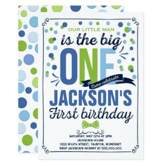 Boy Navy Blue Green First Birthday Invitation