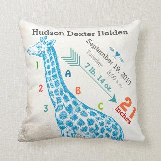 Boy Nursery Baby Birth Stat Giraffe Arrow Pattern Throw Cushion