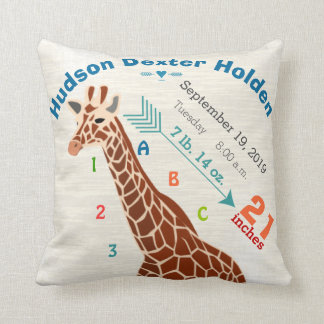 Boy Nursery Baby Birth Stats Giraffe Arrow Pattern Cushion