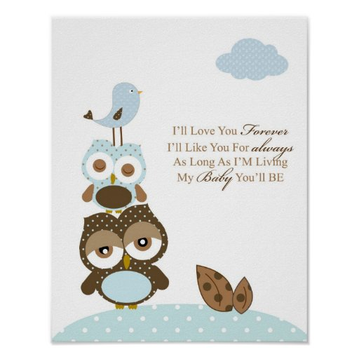 Boy nursery bedroom art I will love you forever Print