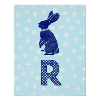 Boy Nursery Decor Rabbit Letter R Blue Dots
