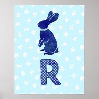 Boy Nursery Decor Rabbit Letter R Blue Dots Poster