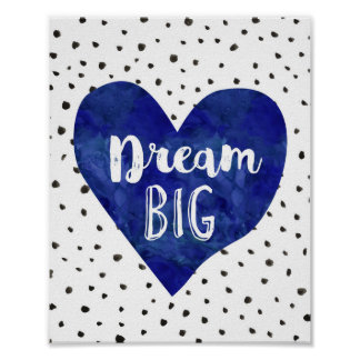 Boy Nursery Decor Watercolor Navy Blue Heart