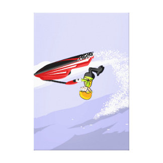 Boy of head in its jet ski canvas print