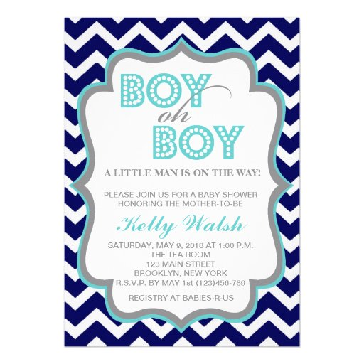 Boy Oh Boy Chic Chevron Baby Shower Invitation Personalized Announcements